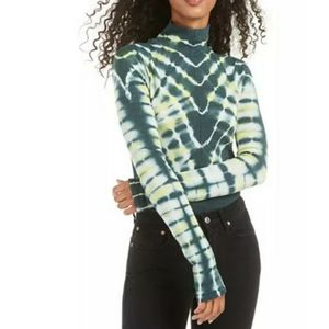 FREE PEOPLE Psychedelic Green Turtleneck Top Large